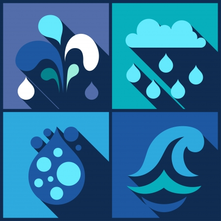 Background with water icons in flat design style. Vector