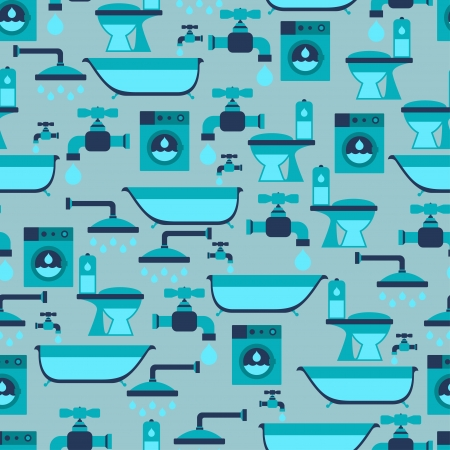 Seamless pattern with plumbing equipment. Vector
