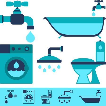 ahorrar agua: Iconos de equipos de fontaner�a en el estilo de dise�o plano.