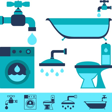 sanitary: Plumbing equipment icons in flat design style. Illustration