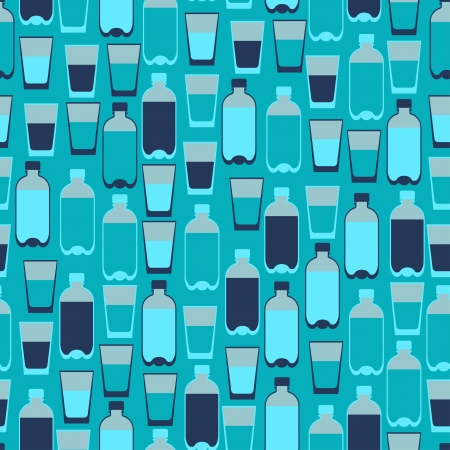 plastic texture: Seamless pattern with plastic bottles and glasses.