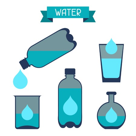 backpacking: Water storage capacity icons in flat design style. Illustration