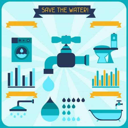 ahorrar agua: Guarde el agua. Cartel con la infograf�a en estilo plano. Vectores