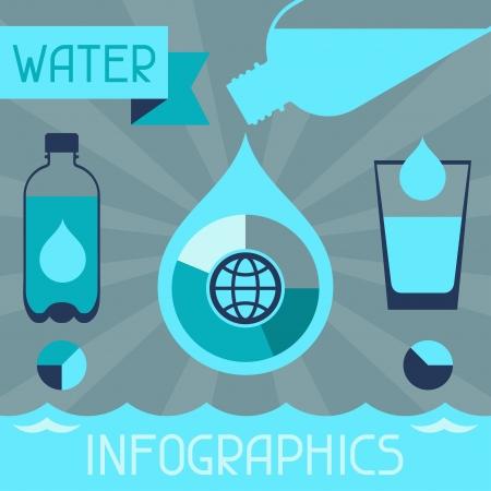 acqua vetro: Infografica d'acqua in stile design piatto.