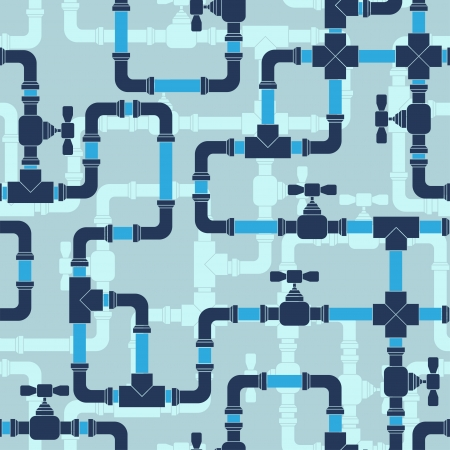 coupling: Seamless pattern with water pipeline. Illustration