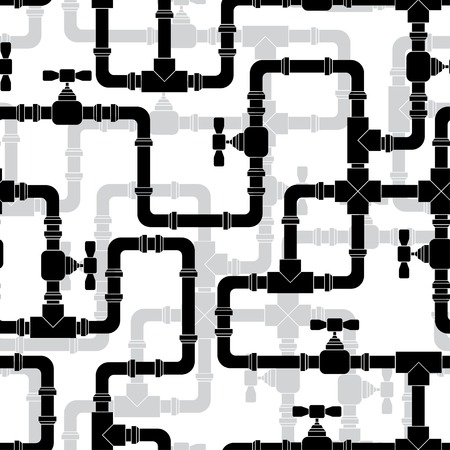 Seamless pattern with water pipeline. Illustration