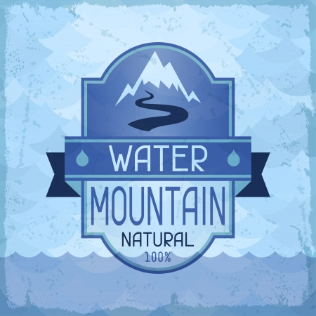Water mountain background in retro style. Vector