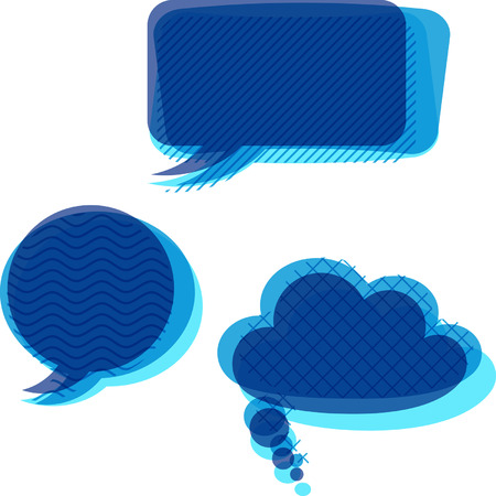 slant: Set ofvtrasparent patterned speech bubbles. Illustration