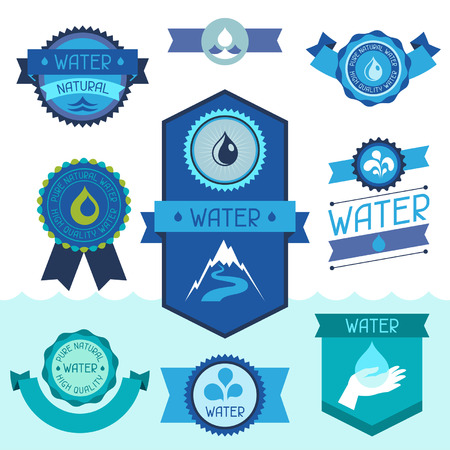 Set of water labels, badges and stickers. Vector
