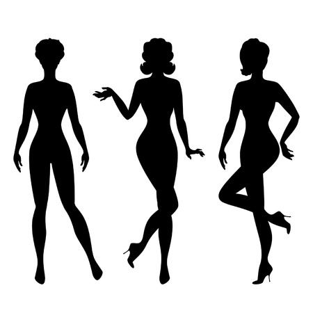 staying in shape: Silhouettes of beautiful pin up girls 1950s style. Illustration