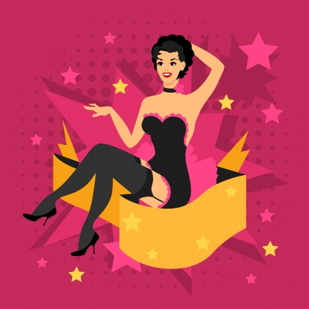Card with beautiful pin up girl 1950s style. Vector