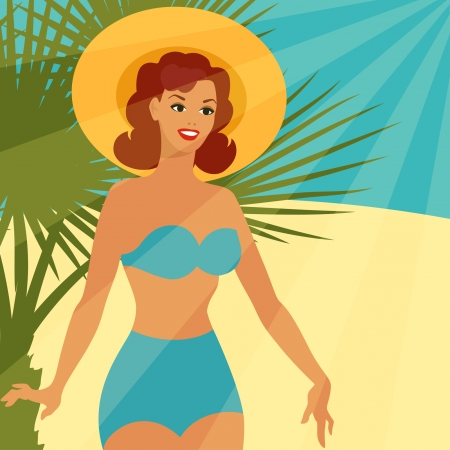 Card with beautiful pin up girl 1950s style on the beach. Vector