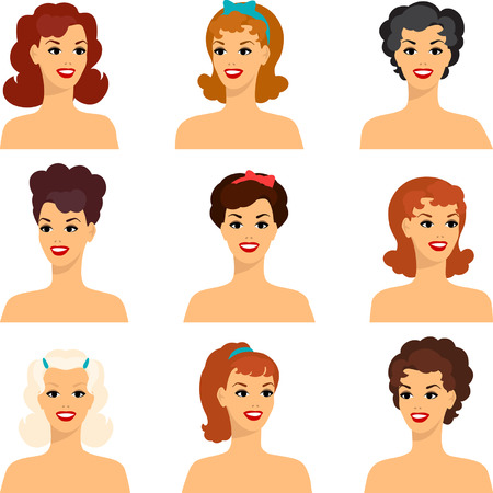 ap: Collection of portraits beautiful pin up girls 1950s style.