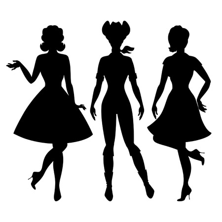 Silhouettes of beautiful pin up girls 1950s style. Vector