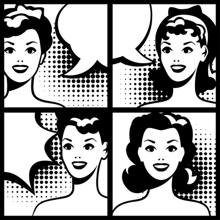 think up: Illustrations for comic books with retro girl in pop art style.