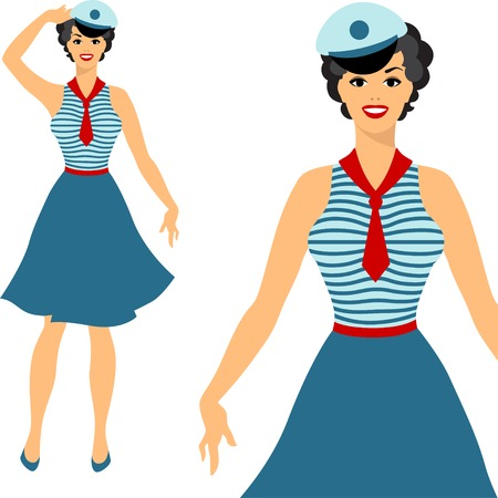 Beautiful pin up sailor girl 1950s style. Vector