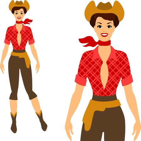 ap: Beautiful pin up cowgirl 1950s style.