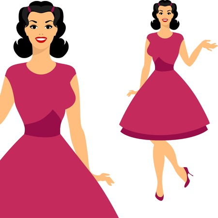 Beautiful pin up girl 1950s style. Vector