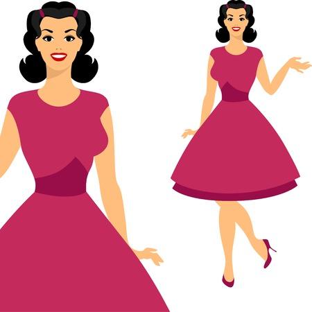 hair pins: Beautiful pin up girl 1950s style. Illustration