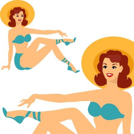 costume de bain: Belle Pin up girl style des années 1950 en maillot de bain. Illustration