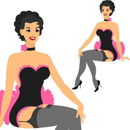 Beautiful pin up girl 1950s style. 向量圖像