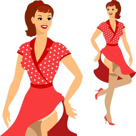 legs stockings: Bella ragazza pin up stile 1950 della ragazza. Vettoriali