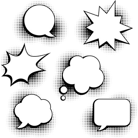 Set of speech bubbles in pop art style. Vector