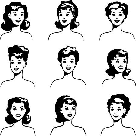 fiatal nők: Gyűjtemény portrék szép pin up lányok 1950-es stílusban. Illusztráció