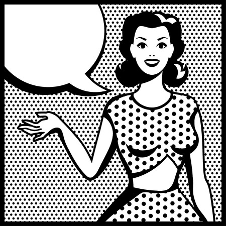 style: Illustration of retro girl in pop art style  Illustration