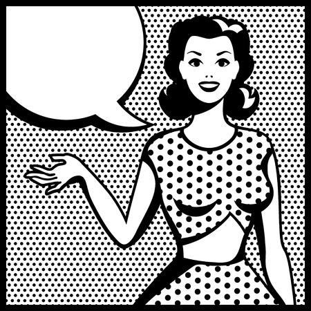 sorriso donna: Illustrazione della ragazza retr� in stile pop art