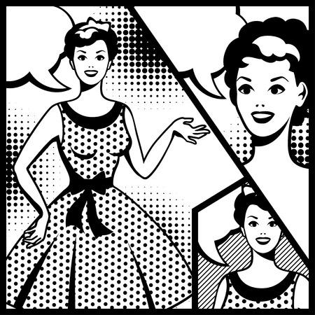 beauty smile: Illustration of retro girl in pop art style  Illustration