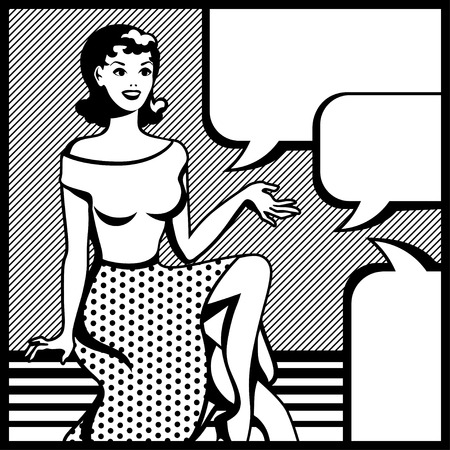think bubble: Illustration of retro girl in pop art style  Illustration