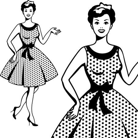 vintage: Muchacha retra hermosa en el estilo del arte pop