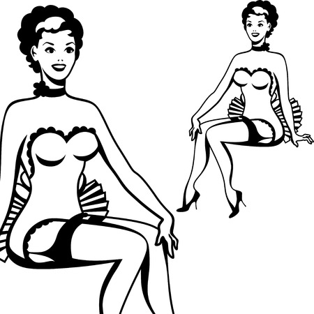showgirls: Beautiful retro girl in pop art style