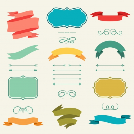Set of romantic arrows, ribbons and labels in retro style. Ilustração