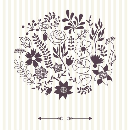 Romantic background of various flowers in retro style. Stock Vector - 24155560