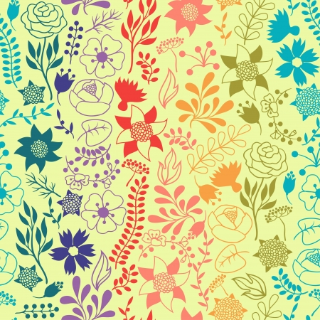 Romantic seamless pattern of various flowers in retro style. Vector