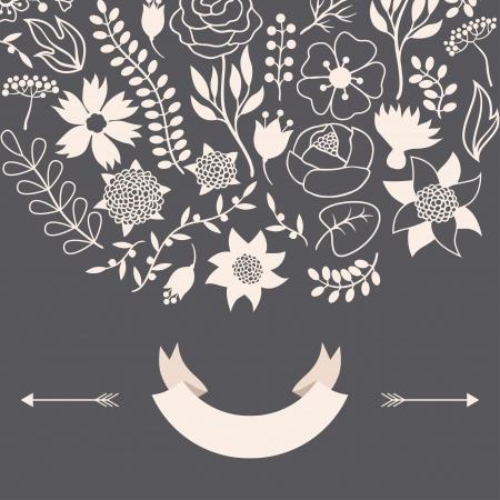 Romantic background of vaus flowers in retro style. Stock Vector - 24155562