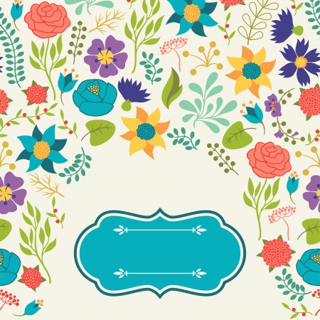 Romantic background of various flowers in retro style. Stock Vector - 24155569