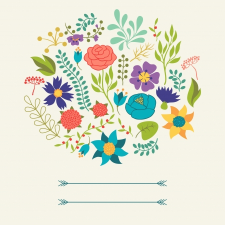 Romantic background of various flowers in retro style. Vector