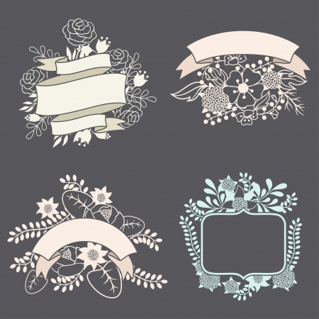 Set of design elements with ribbons, labels and flowers . Vector