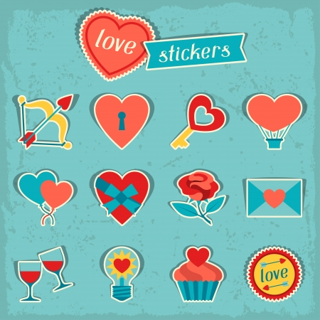Set of Valentine's and Wedding icons, design elements. Vector