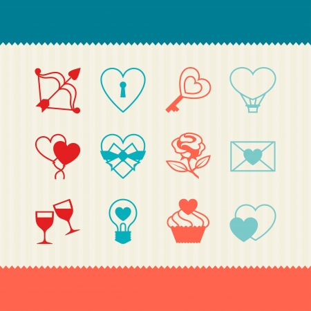 Set of Valentines and Wedding icons, design elements. Vector