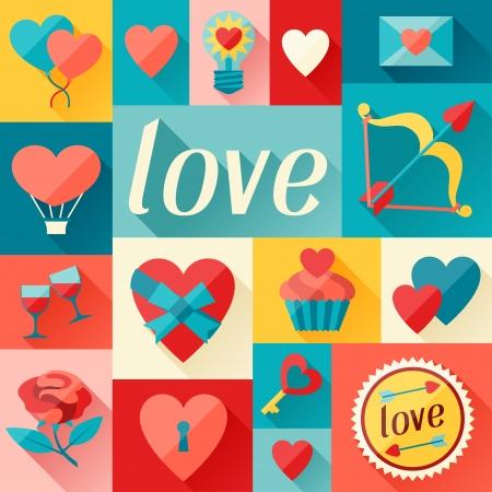 Valentinstag und Hochzeit Hintergrund in flachen Design-Stil.