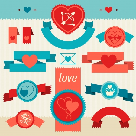 Valentines and Wedding banners, ribbons, badges. Illustration