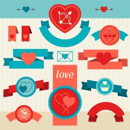 Valentinstag und Hochzeit Banner, Bänder, Abzeichen.