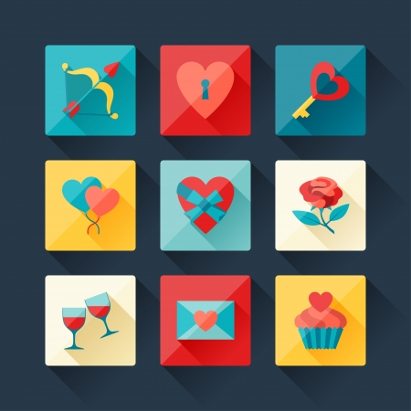 Set of Valentine's and Wedding icons in flat design style. Vector