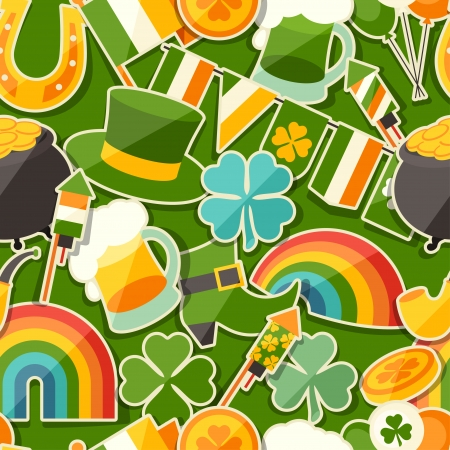 Saint Patricks Day seamless pattern with stickers. Vector
