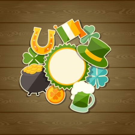 Saint Patricks Day greeting card with stickers. Vector