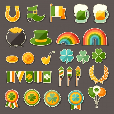 Saint Patricks Day sticker icons set. Vector
